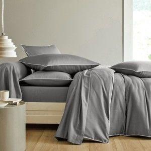 Blancheporte Jednofarebná posteľná bielizeň, bavlnený satén, Colombine sivá obliečka na prikr. 140x200cm