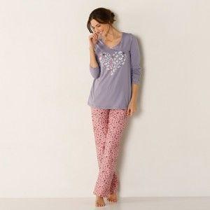 Blancheporte Pyžamo z kombinovaného materiálu, s potlačou sivá/ružová 38/40