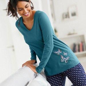 Blancheporte Pyžamové tričko s potlačou motýlikov a s dlhými rukávmi modrá 38/40