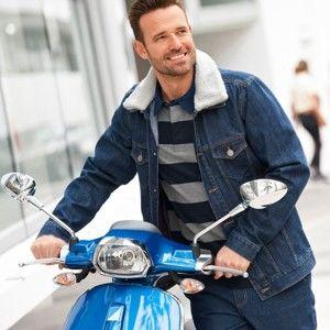Blancheporte Džínsová bunda s odnímateľným golierom z umelej kožušiny modrá 64/66 (3XL)
