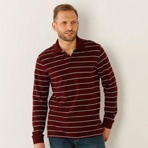 Blancheporte Polo tričko s prúžkami a dlhými rukávmi slivková 107/116 (XL)