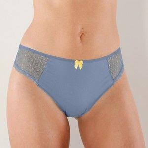 Blancheporte Midi nohavičky z čipky a bavlny, súprava 4 ks bridlicová+papriková 34/36