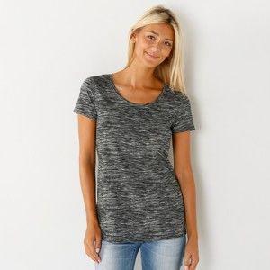 Blancheporte Melírované tričko s krátkymi rukávmi čierny melír 42/44