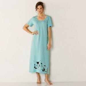 Blancheporte Dlhá nočná košeľa, sada 2 ks svetlá zelená+modrá 42/44