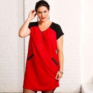 Blancheporte Šaty so zipsami červená/čierna 50