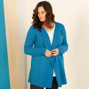 Blancheporte Asymetrický sveter na zips tyrkysová 52