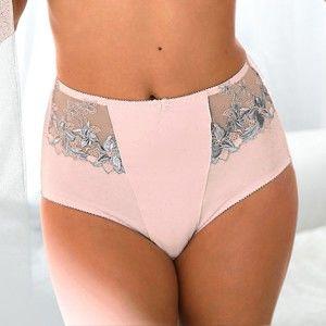 Blancheporte Vysoké sťahujúce nohavičky s výšivkou ružová 42/44