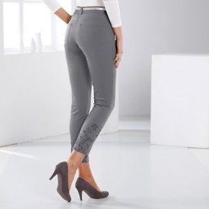 Blancheporte 7/8 nohavice s výšivkou sivá 42