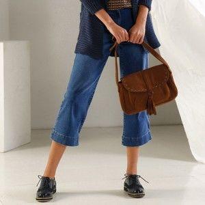 Blancheporte 3/4 denimové nohavice zapratá modrá 52