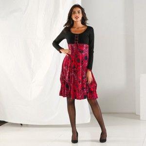 Blancheporte Šaty s potlačou a dlhými rukávmi čierna/červená 50