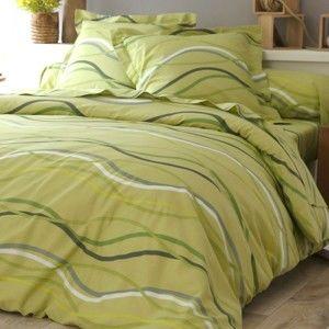 Blancheporte Posteľná bielizeň Vlnky, bavlna zn. Colombine zelená klasická plachta 180x290cm