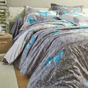 Blancheporte Posteľná bielizeň Celestine, polycoton zn. Colombine hnedosivá/modrá obliečka na prikr. 240x220cm