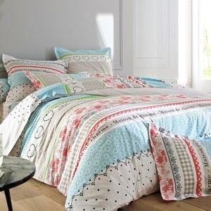 Blancheporte Posteľná bielizeň Madeleine, polyester-bavlna, zn. Colombine modrá napínacia plachta 90x190cm
