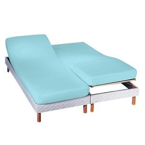 Blancheporte Napínacia plachta na polohovacie postele, polycoton blankytná modrá napínacia plachta 160x200cm