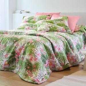 Blancheporte Prikrývka na posteľ s potlačou, štýl boutis ružová/zelená obliečka na vank. 65x65cm