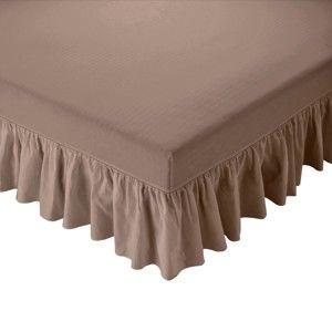 Blancheporte Prikrývka na matrac s volánom hnedosivá 180x200cm