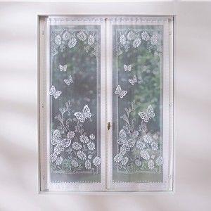 Blancheporte Rovná záclona, motýle biela 44x120cm