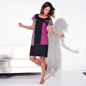 Blancheporte Asymetrická nočná košeľa s potlačou a krátkymi rukávmi čierna/ružová 38/40