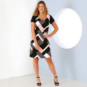Blancheporte Šaty s grafickým vzorom a krátkymi rukávmi čierna/biela/ružová 52