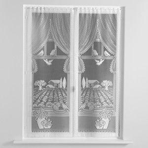 Blancheporte Rovné vitrážové záclonky, levandule, sada 2 ks biela 60x120cm