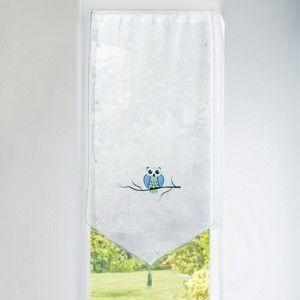 Blancheporte Vitrážová záclonka Sova modrá/zelená 45x120cm