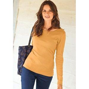 Blancheporte Jednofarebné tričko s okrúhly výstrihom medová 54