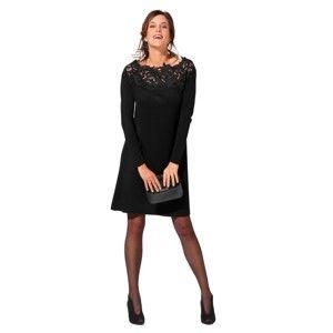 Blancheporte Úpletové šaty s macramé čierna 50