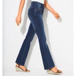 Blancheporte Strečové bootcut džínsy v oprané vzhľadu modrá 44