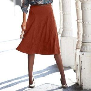 Blancheporte Rozšírená sukňa semišového vzhľadu paprika 44