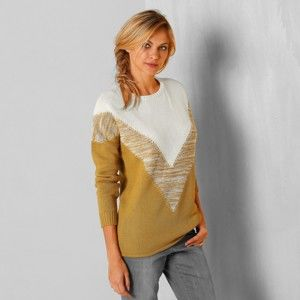 Blancheporte Žakárový originálny pulóver ražná/medová 52