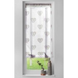 Blancheporte Vyťahovacia záclona so srdiečkami sivá 60x90cm