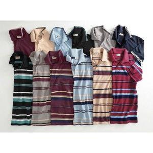 Blancheporte Prúžkované polo tričko s dlhými rukávmi červená 87/96 (M)