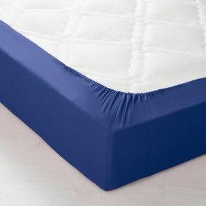 Blancheporte Jednofarebná napínacia posteľná plachta, bavlna nám.modrá napínacia plachta 140x190cm