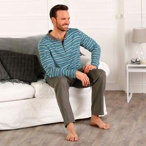 Blancheporte Pyžamo s tuniským výstrihom a dlhými rukávmi, s prúžkami antracitová/tyrkysová 87/96 (M)
