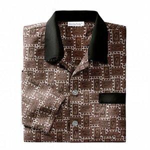 Blancheporte Pánsky pyžamový kabátik, polycoton potlač béžová 87/96 (M)