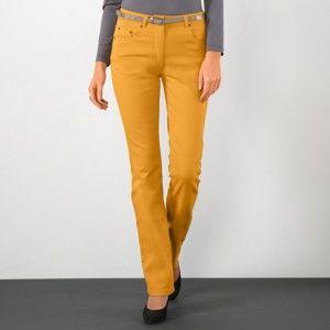 Blancheporte Strečové rovné nohavice šafranová 38