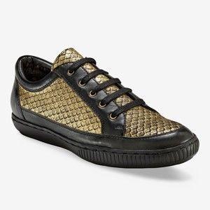 Blancheporte Kožené dvojfarebné tenisky čierna/zlatá 40