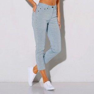 Blancheporte 3/4 nohavice, prúžkované biela/modrá 40