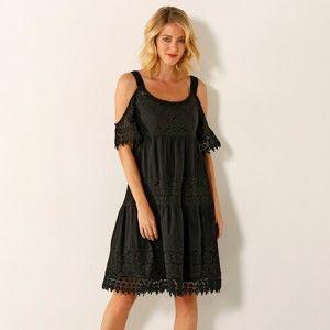 Blancheporte Šaty s čipkou a volánmi čierna 40