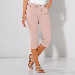 Blancheporte Bi-strečové korzárske nohavice béžovoružová 52