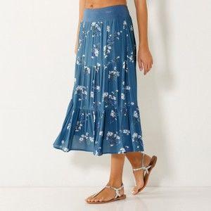 Blancheporte Polodlhá sukňa s volánmi, potlač kvetín džínsová 52