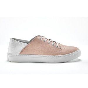 Blancheporte Dvojfarebné kožené tenisky ružová/biela 40