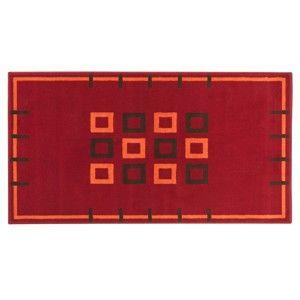 Blancheporte Koberec, motív štvorce červená 60x110cm