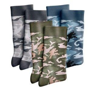 Blancheporte Ponožky, motív maskáče, súprava 6 párov modrá+sivá+khaki 43/46