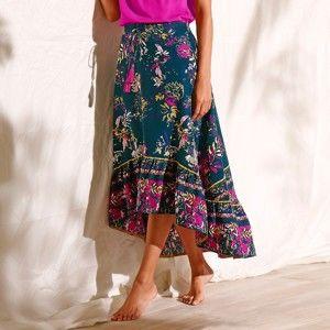 Blancheporte Dlhá asymetrická sukňa s potlačou ind.ružová/ružová 46