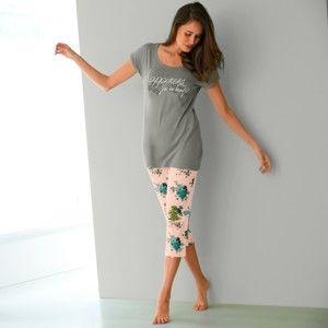 Blancheporte Pyžamo s 3/4 nohavicami a potlačou kvetín, bavlna a modal khaki/ružová 42/44