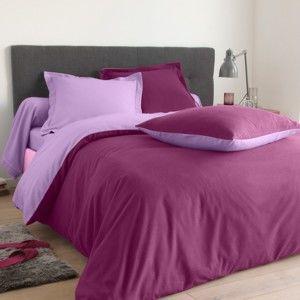 Blancheporte Dvojfarebná posteľná bielizeň, flanel zn. Colombine slivková/levanduľová obliečka na prikrývku 240x220