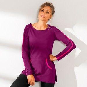 Blancheporte Dvojfarebné tričko s dlhými rukávmi purpurová/fuksia 50