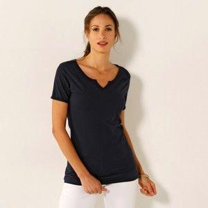 Blancheporte Jednofarebné tričko s tuniským výstrihom nám.modrá 34/36