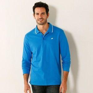 Blancheporte Polo tričko s dlhými rukávmi azurová modrá 117/126 (XXL)